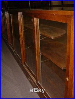 16' Wooden Glass Showcase Country Store -Vintage Display Cabinet Counter-St. Paul