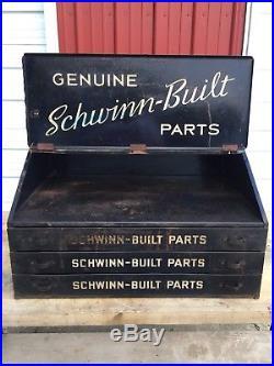 1940's Vintage Schwinn Dealer Bicycle Parts Cabinet Store Display Advertising
