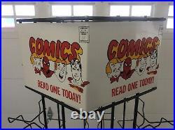 1960's Vintage Comic Book Metal Store Display Spinner Rack Superman Spiderman
