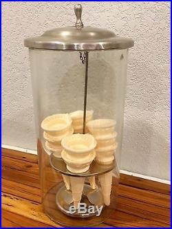Antique Glass Ice Cream Cone Dispenser Holder Vintage Soda Fountain