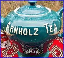 ARNHOLTZ TEA vtg shenango china teapot coffee store display sign texas denver