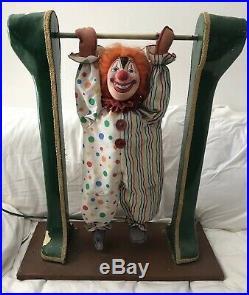 Amazing Vintage Mechanical Wildly Acrobatic Automaton Swinging Clown