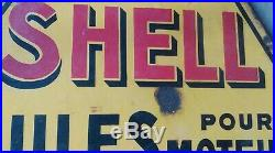 Ancienne PLAQUE TRIANGLE HUILE SHELL 77 CM, vintage, garage, auto, moto, no copie