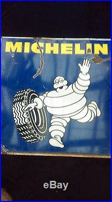 Ancienne plaque DOUBLE MICHELIN BIBENDUM 1982, lof, vintage, garage émaillée