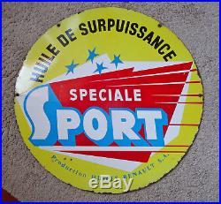 Ancienne plaque émaillée bidon RENAULT sport oil vintage garage enamel sign
