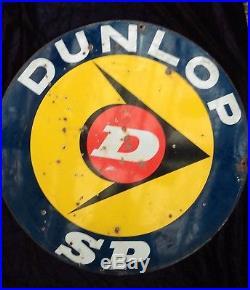 Ancienne plaque émaillée double face PNEU DUNLOP, lof, vintage, garage
