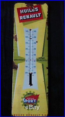Ancienne plaque émaillée thermomètre HUILE RENAULT, lof, vintage, garage, auto, moto