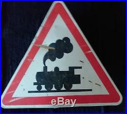 Ancienne plaque emaillée train sncf 1984, vintage, garage, bistrot, métal, agricole