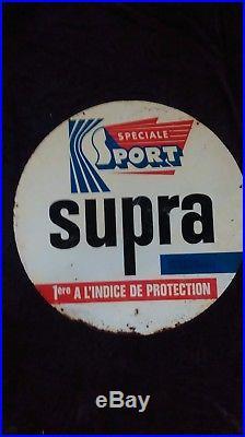 Ancienne plaque métal HUILE SUPRA 64 cm, lof, vintage, garage, no émaillée