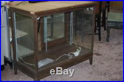 Antique General Store Country Display Case Oak Cabinet Vintage Wavy Glass