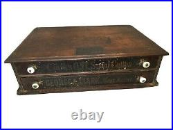 Antique Oak Spool Cabinet George A. Clark General Store Sewing Thread Display