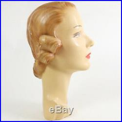 Antique Vintage 1940's Mannequin Head Bust Store Display, Plaster, Chalkware
