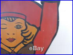 Antique Vintage Buster Brown Shoes Display Street Stand Sign Shoe Display