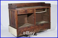 Antique Vintage Original Store Counter Display Mahogany General Cabinet Display