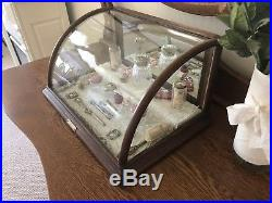 Antique Vintage Store Display Gum Curved Glass Oak Showcase Cabinet Counter