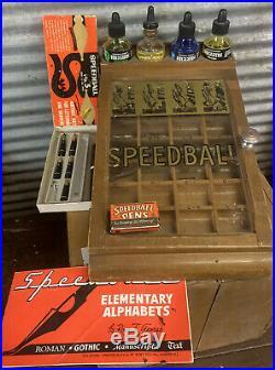 Antique Vtg 20s-30s Speedball Wooden Fountain Pen Tip Nib Display Store Case