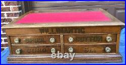 Antique Willimantic Spool Thread Country Store Display Cabinet Vintage Storage