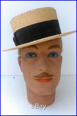 Antique mannequin head P. Imans, Paris, glass eyes, real hair, moustache, Vintage head
