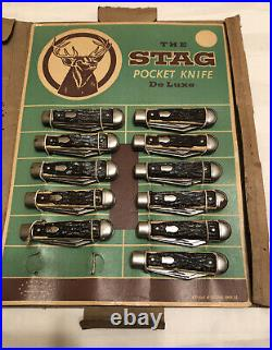 Colonial Vintage The Stag Pocket Knife De Luxe Advertising Display And 11 Knives