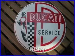DUCATI Targa MOTO Smaltata SERVIZIO tabella VINTAGE Bottone 42 CM