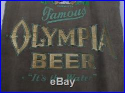 Early Vintage FAMOUS OLYMPIA BEER Huge VELOUR BANNER With Fringes/Dowel