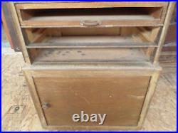 French antique haberdashery notions store display cabinet 50s