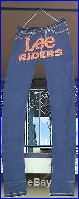 GIANT JEANS Lee Riders DENIM. 8' tall. STORE DISPLAY VTG ORIGINAL SIGN