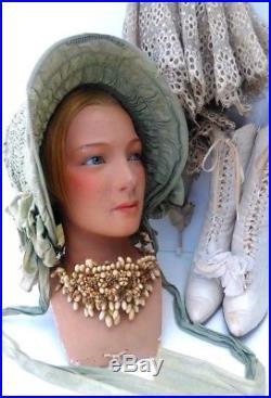 Great, Vintage mannequin head, P. Imans, Paris, plaster, implanted hair, glass eyes