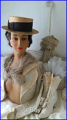 Great, vintage mannequin bust, head, plaster, blue glass eyes, real hair, antique head