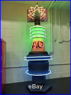 HUGE Vintage AC SPARK PLUG Neon STORE DISPLAY Car Garage Man Cave SIGN Standee