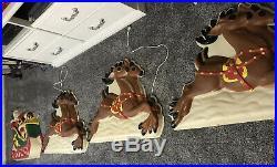 HUGE Vintage Philipp Sales Hanging Blow Mold Santa Reindeer Light Store Display