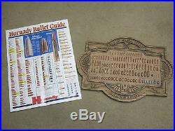 Hornady Vintage Bullet board Store Display Advertising Sign Board Man Cave