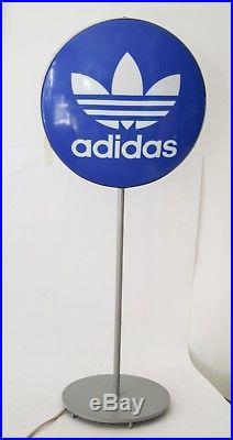 Insegna Luminosa Adidas Logo Vintage 90 CM Bifacciale Con Base Targa Tabella