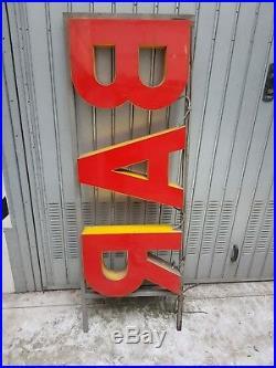 Insegna Luminosa Bar Da Esterno Con Staffe Vintage Modernariato No Spedizione
