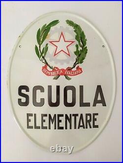 Insegna Tabella In Latta Scuola Elementare Vintage Smaltata Anni 50 Mint Targa