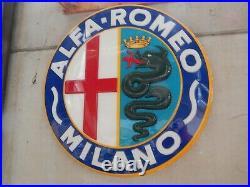 Insegna Vintage Originale Alfa Romeo Milano Sign