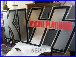 KISS vintage 1978 DOUBLE PLATINUM INTACT TWO SIDED STORE DISPLAY AUCOIN RARE