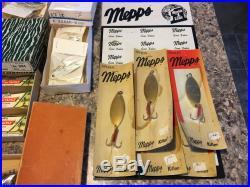 Large Old Vintage Fishing Lures Tackle Dealer Boxes 13 Store Displays Pflueger