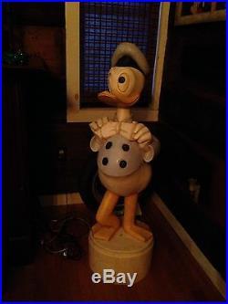 Large Vintage Walt Disney Hand Carved Donald Duck Folk Art Store Display