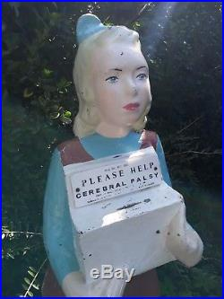 Large, life-size, VINTAGE charity box, donation box, child girl, cerebral palsy CP