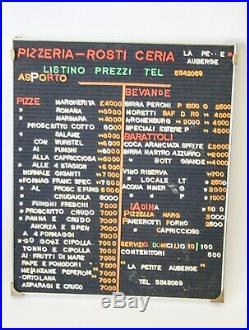 Listino Prezzi Vintage Bar Pizzeria Lettere Componibili Tabella Insegna Lire