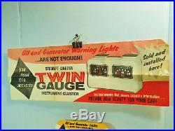 NOS vintage original Stewart Warner Twin Gauge panel with rare display box +poster