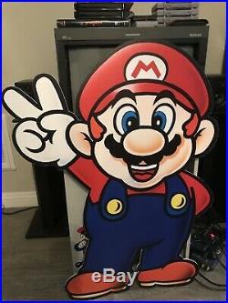 Nintendo Mario Single Sided Store Display Sign Vintage 90s