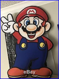 Nintendo Mario Wall Sign Store Display Board 1990s Era Vintage Rare