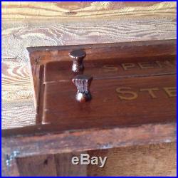 Original Vintage Oak Spencerian Steel Pens Country Store Display Cabinet Wood