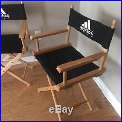 PAIR of Vintage ADIDAS GOLF Advertising Directors Chairs Man Cave Solid Wood
