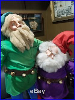 Pair Of Vintage Animated Gnomes / Elves Christmas Store Display