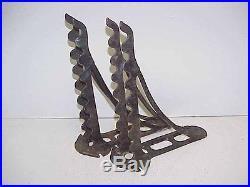 Pair VTG Cast Iron Display Shelf Bracket Hardware Store Rake Shovel Tool Holder
