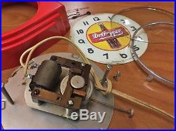 Rare Vtg Red Deco Telechron Dr Pepper Ice Cream Parlor-diner-store Display Clock