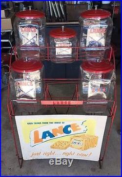 RARE. Vintage Original Lance 6 Jar Snacks Rack Country Store Display Rack & Sign